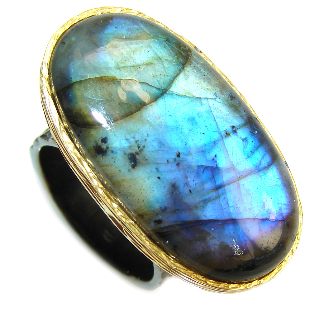 Big! Natural AAA Fire Labradorite, Gold Plated, Rhodium Plated Sterling Silver ring s. 7