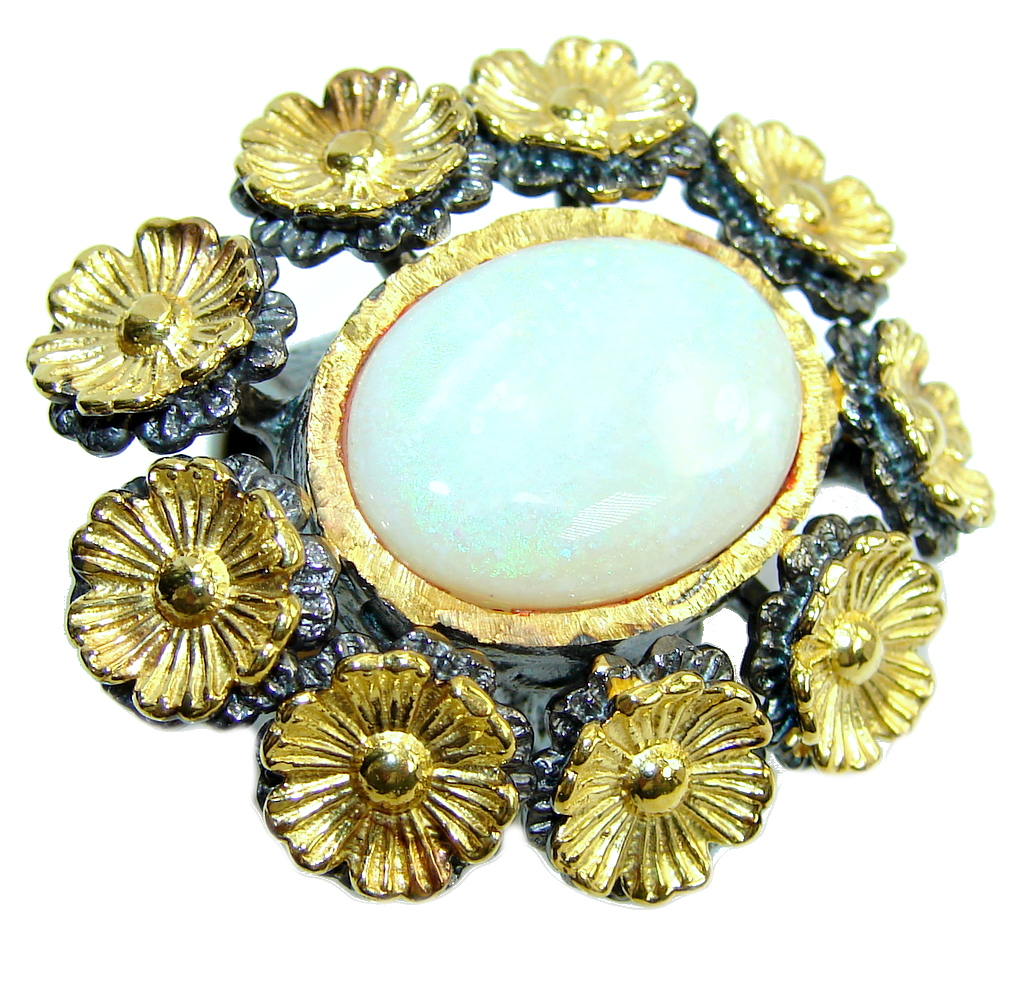 Big! Incredible AAA White Fire Opal, Gold Plated, Rhodium Plated Sterling Silver Ring s. 7