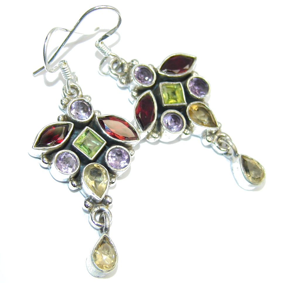 Excellent Peridot Amethyst Garnet Citrine Sterling Silver Earrings