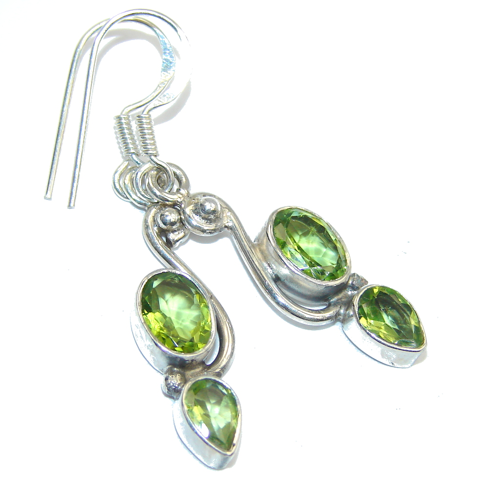 Excellent natural Peridot Sterling Silver Earrings