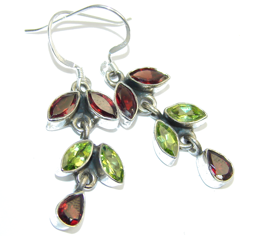 Excellent Peridot Garnet Sterling Silver Earrings