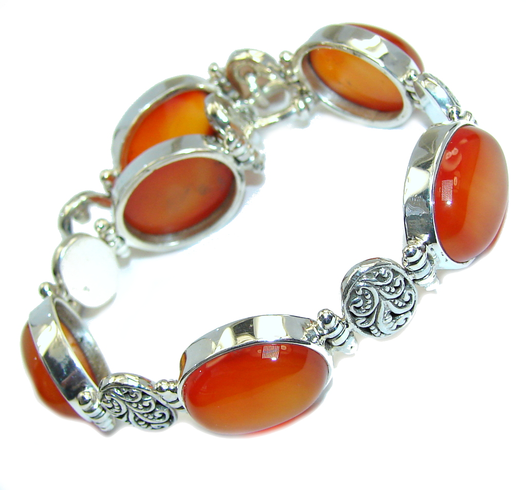Secret Treasure Deep Orange Carnelian Sterling Silver Bracelet