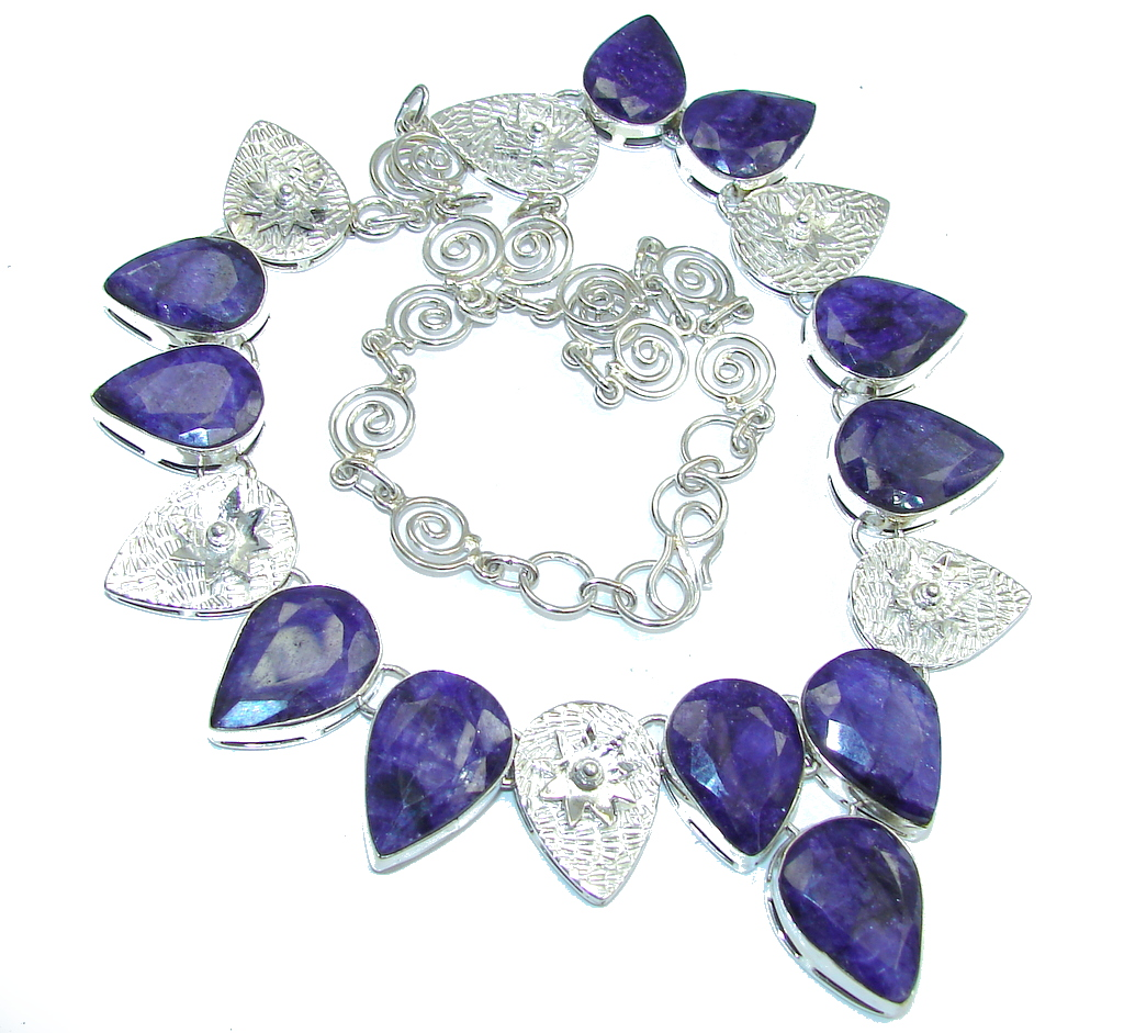 Fabulous Intense Blue Sapphire Sterling Silver necklace