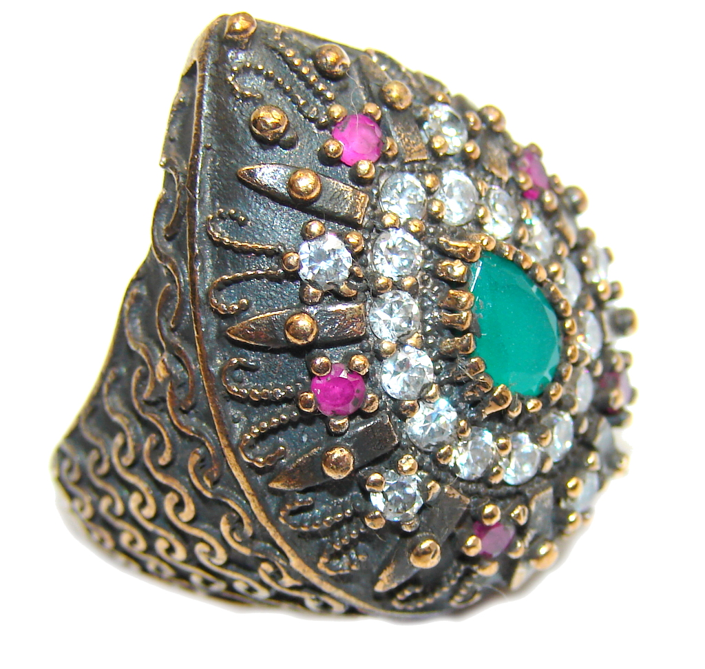 Victorian Style! Green Emerald & Ruby & White Topaz Sterling Silver Ring s. 7 1/4