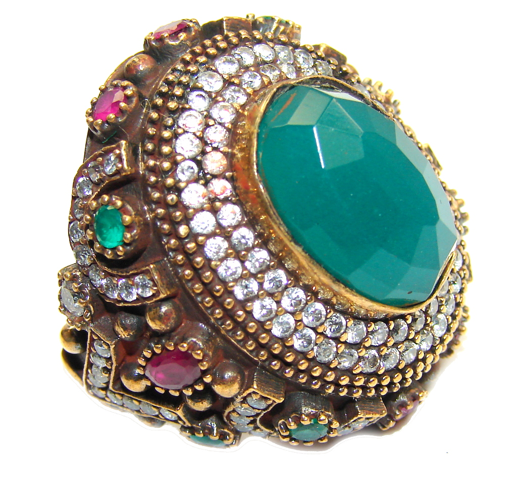 Big! Victorian Style! Green Emerald & Ruby & White Topaz Sterling Silver Ring s. 9 1/4
