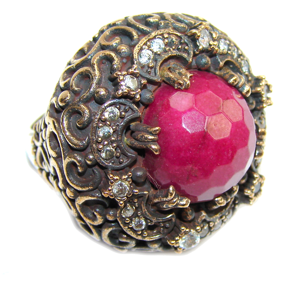 Big! Victorian Style Pink Ruby & White Topaz Sterling Silver Ring s. 8