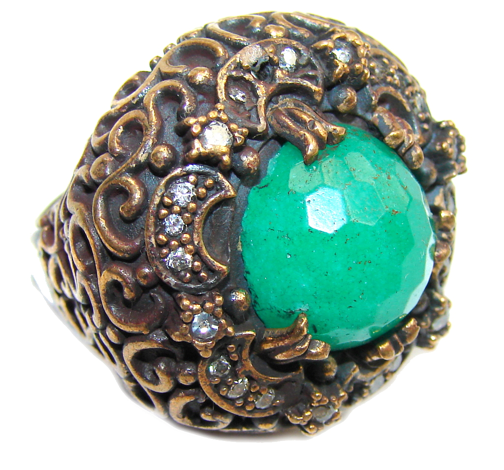 Big! Victorian Style! Green Emerald & White Topaz Sterling Silver Ring s. 8
