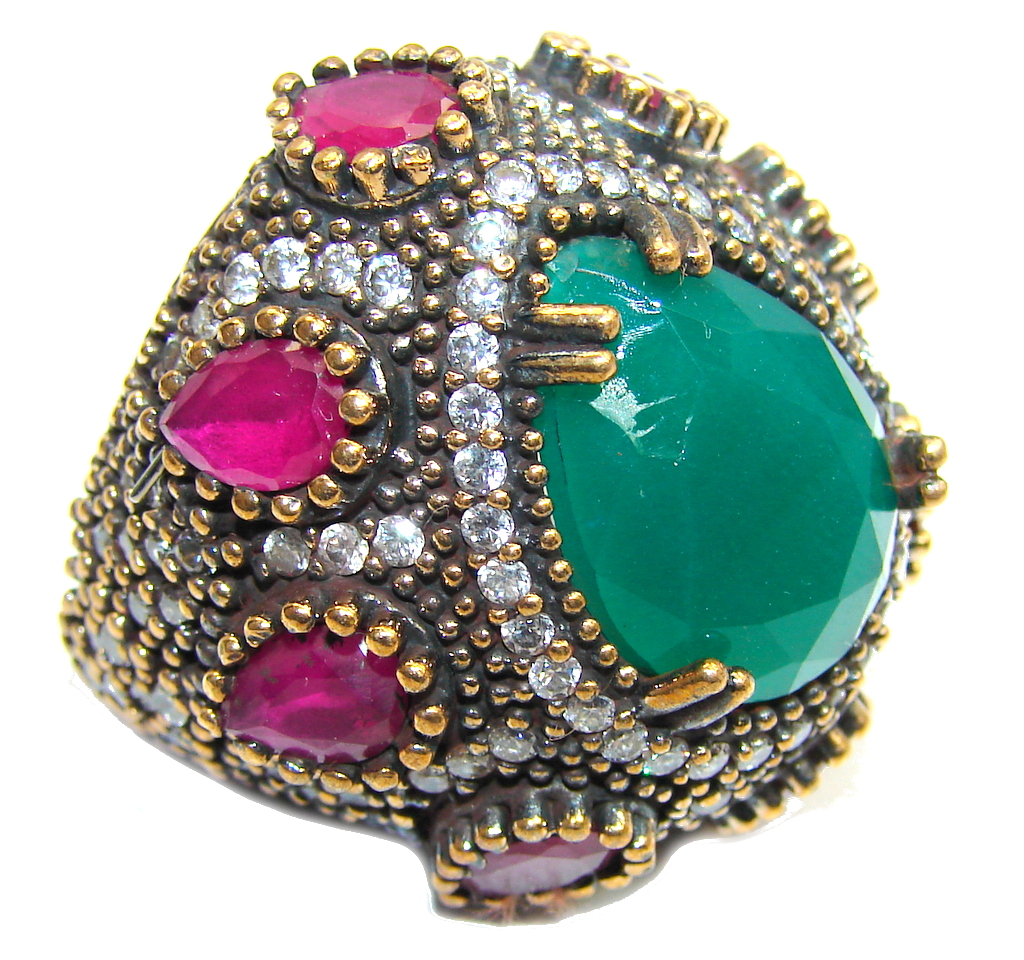 Big! Victorian Style! Green Emerald & Ruby & White Topaz Sterling Silver Ring s. 7