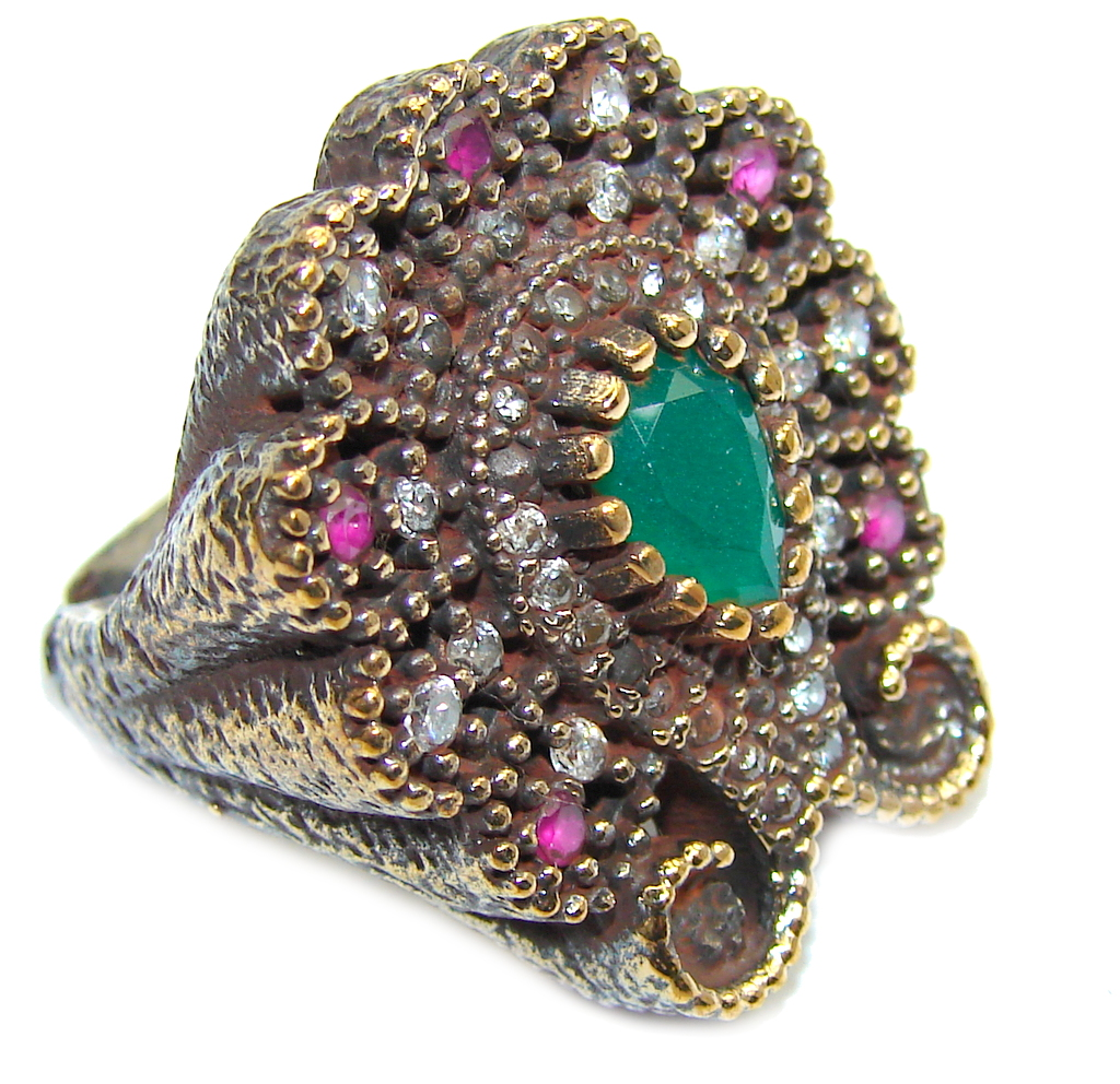 Victorian Style! Green Emerald & Ruby & White Topaz Sterling Silver Ring s. 5