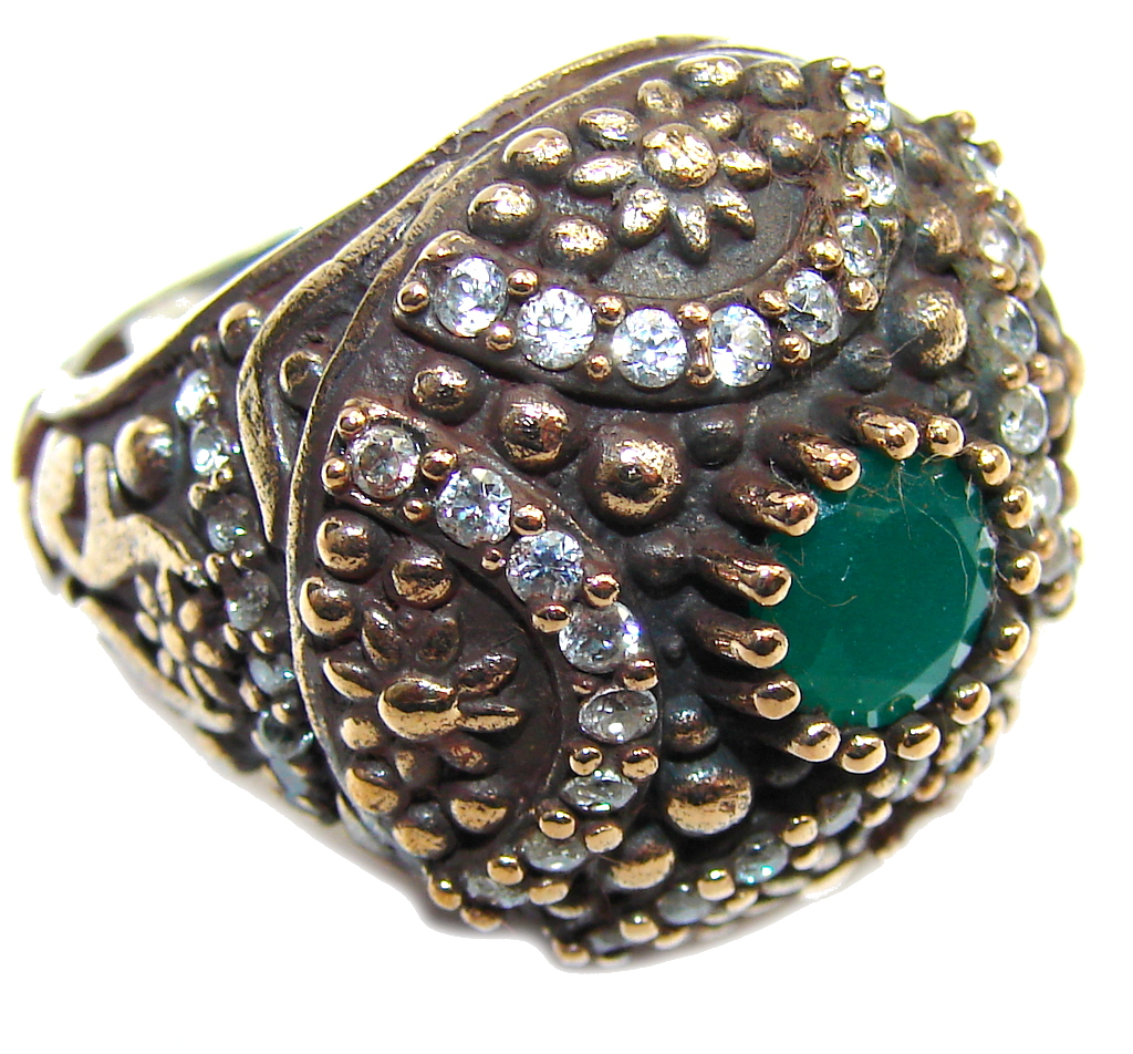 Victorian Style! Green Emerald & White Topaz Sterling Silver Ring s. 7