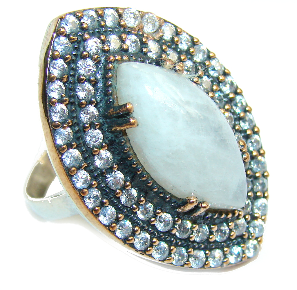 Victorian Style White Moonstone & White Topaz Sterling Silver Ring s. 9 1/2