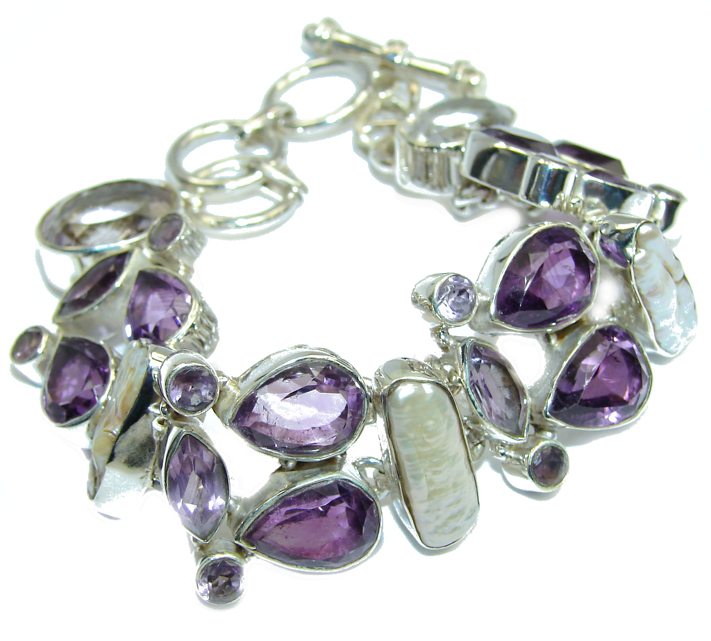 Fabulous Style! Amethyst & Mother Of Pearl Sterling Silver Bracelet