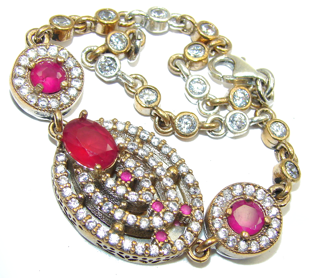 Victorian Style! created Pink Ruby & White Topaz Sterling Silver Bracelet