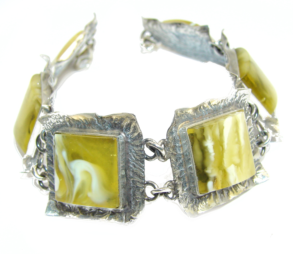 Vintage Style! AAA Green Amber Sterling Silver Bracelet