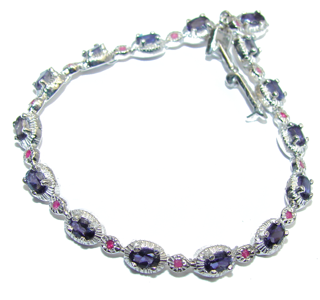 Genuine Purple Sapphire & White Topaz & Ruby Sterling Silver Bracelet