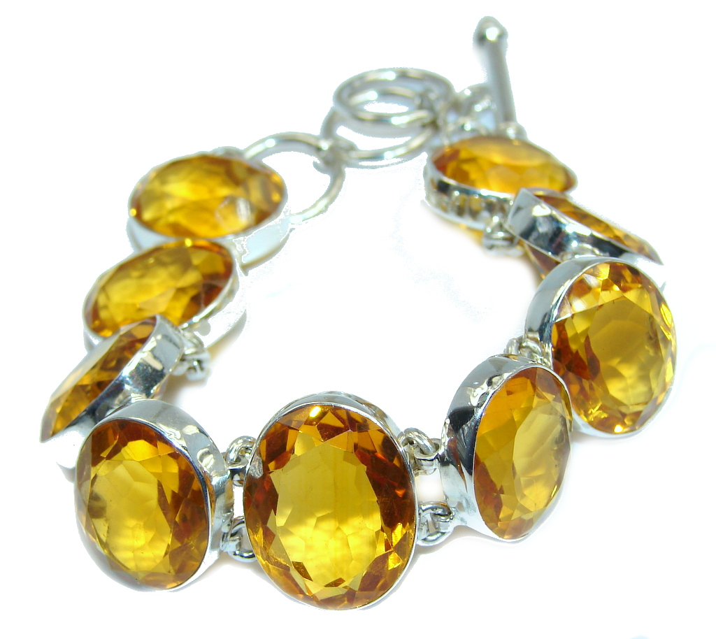 Amazing Created Golden Topaz Sterling Silver Bracelet