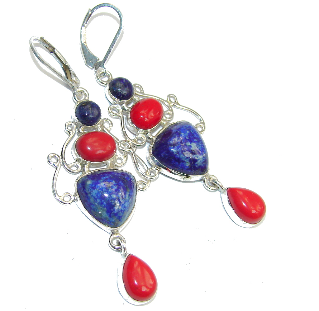 Fantastic! Blue Sodalite & Red Coral Sterling Silver earrings