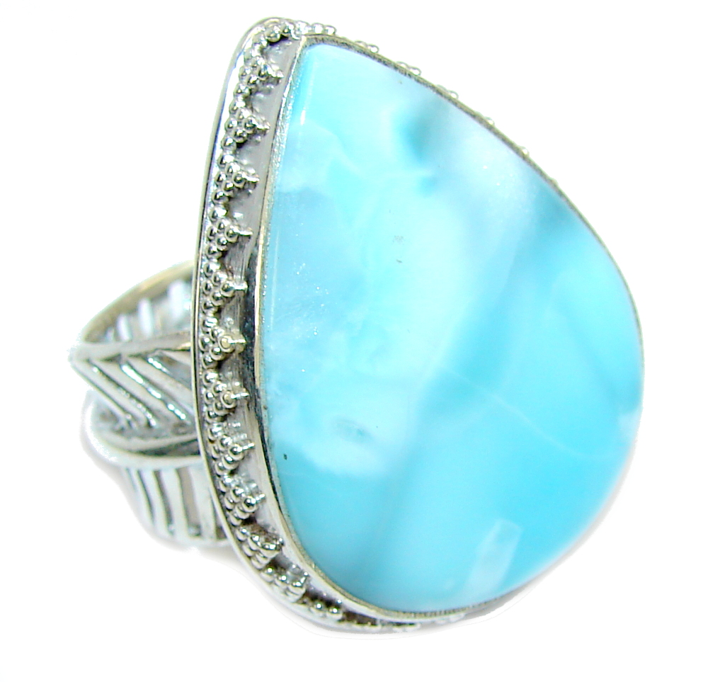 Amazing AAA Blue Larimar Sterling Silver Ring s. 8
