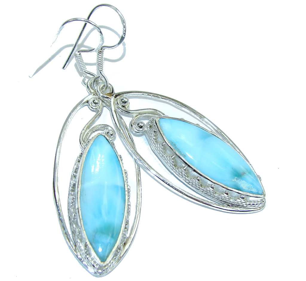 Amazing AAA Blue Larimar Sterling Silver earrings
