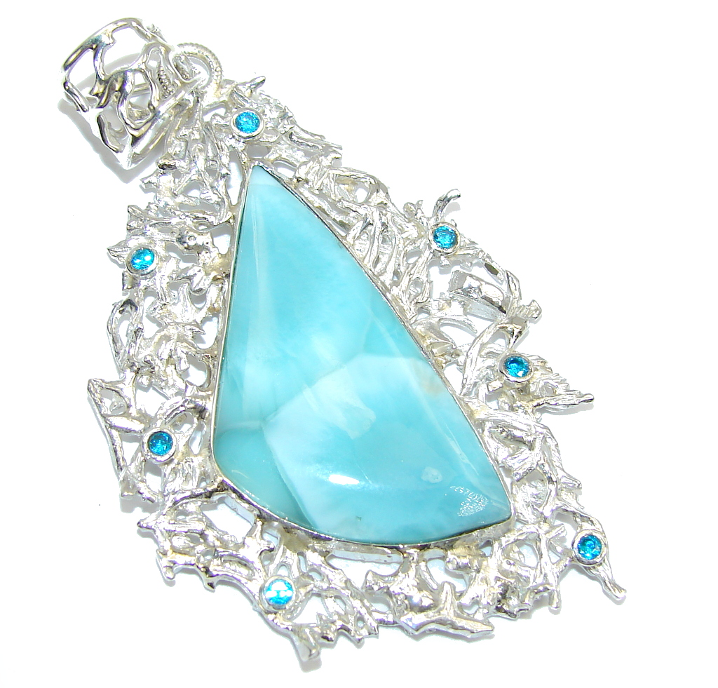 Beautiful AAA Blue Larimar & Blue Topaz Sterling Silver Pendant