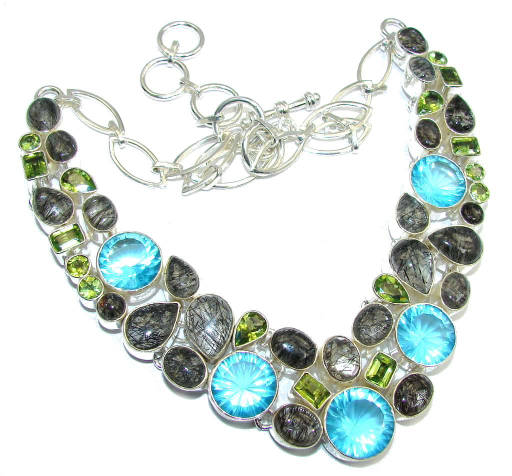 Touch Of Life Swiss Blue Topaz & Tourmalinated Quartz Sterling Silver necklace