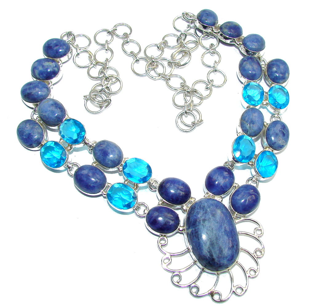 Brazilian Blue Sodalite & London Blue Topaz Sterling Silver necklace