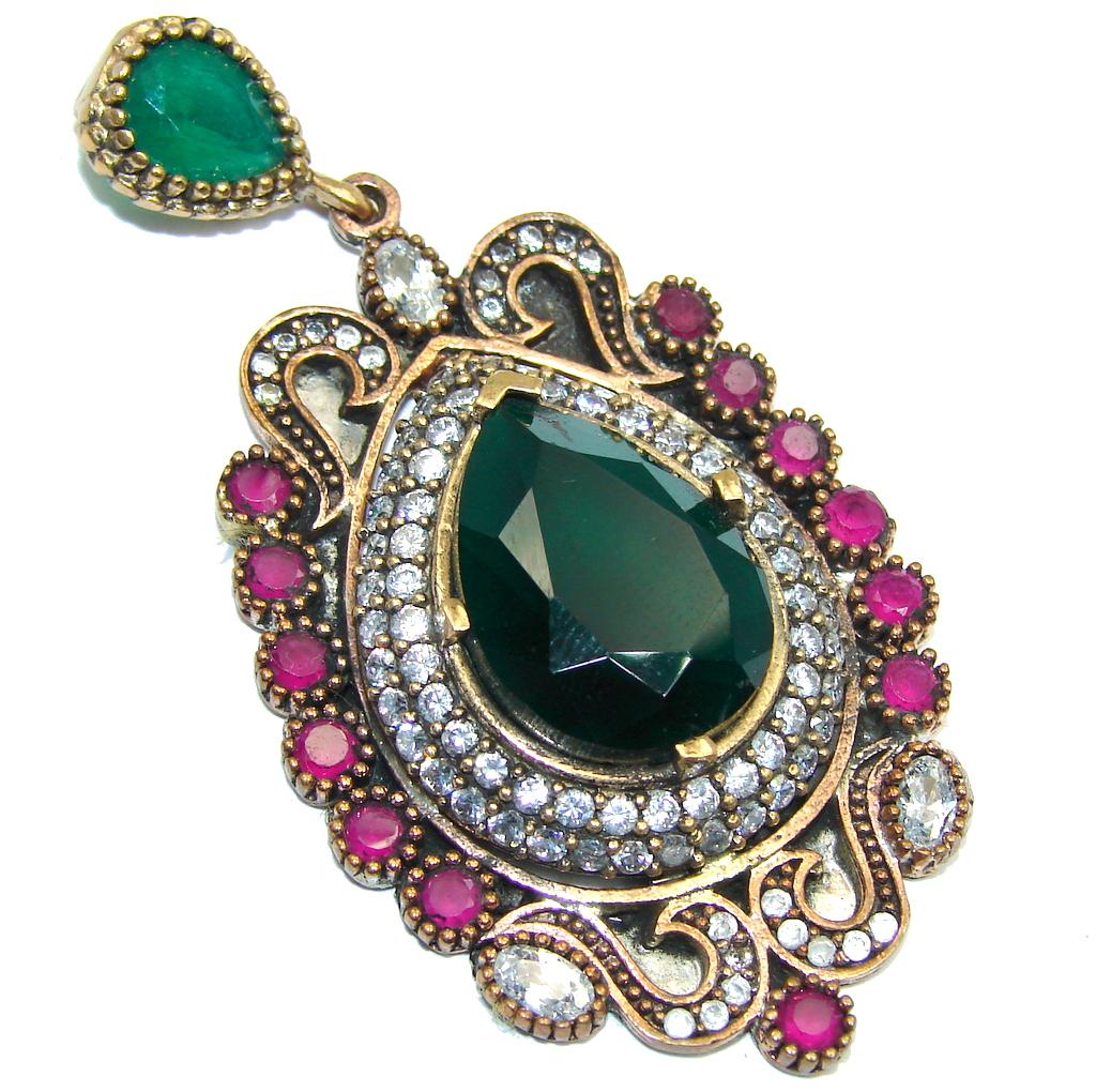 Victorian Style Ruby & Emerald Quartz & White Topaz Sterling Silver Pendant