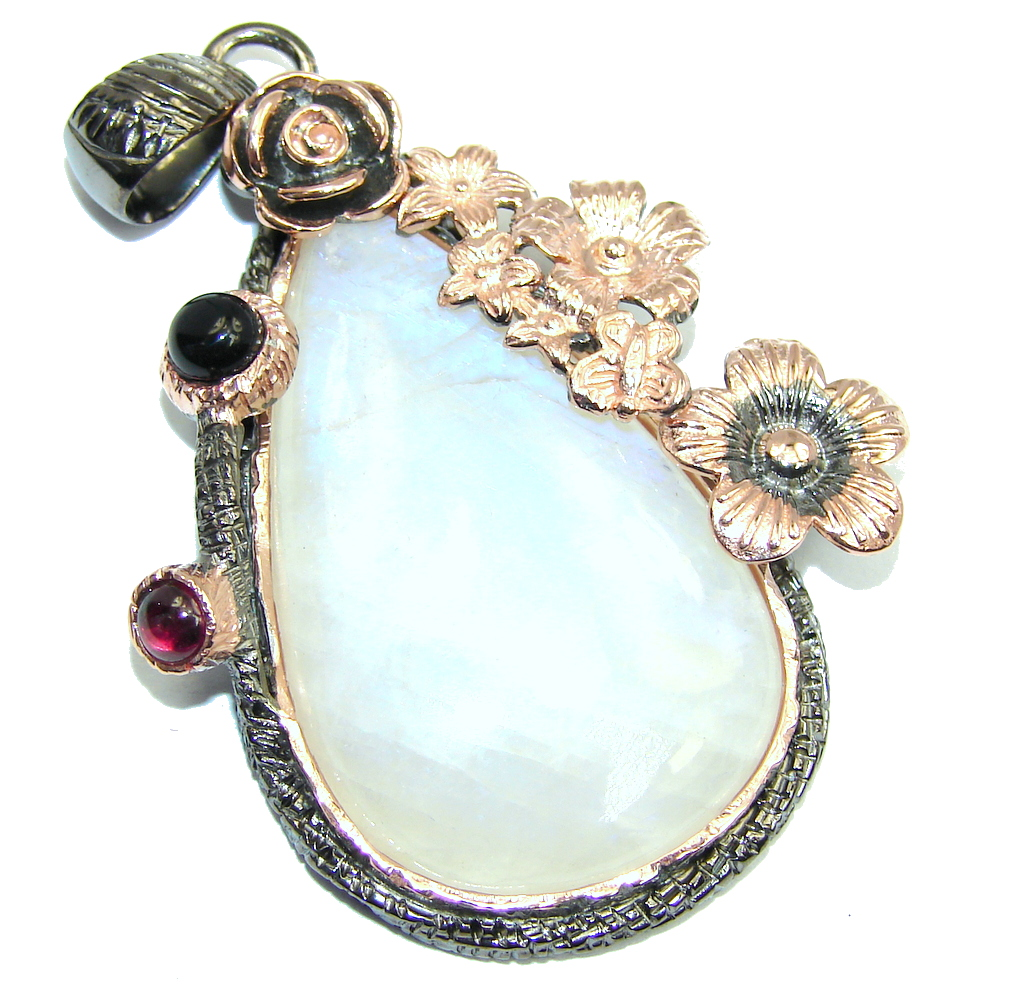 AAA Rainbow Moonstone & Black Spinel, Rose Gold Plated, Rhodium Plated Sterling Silver Pendant