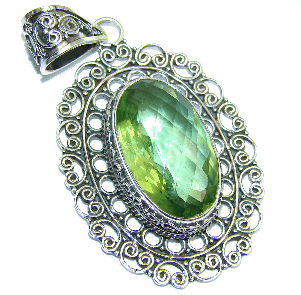 Amazing Created Green Amethyst Sterling Silver Pendant