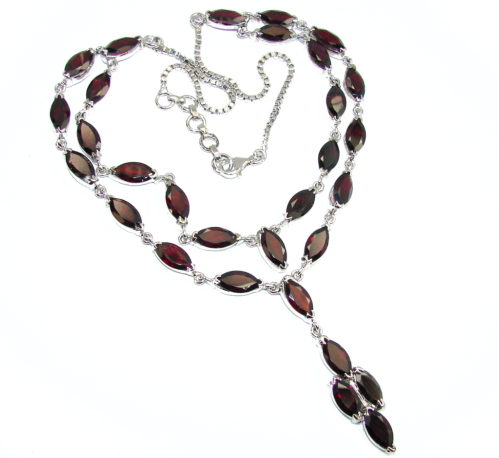 Celebrate Love AAA Red Garnet Sterling Silver Necklace