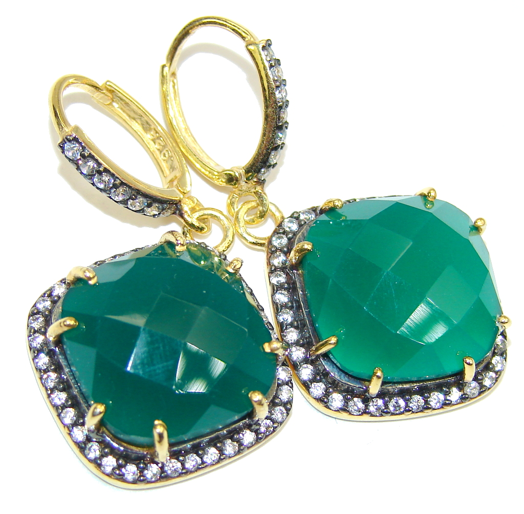 Beautiful Created Emerald & White Topaz Sterling Silver earrings