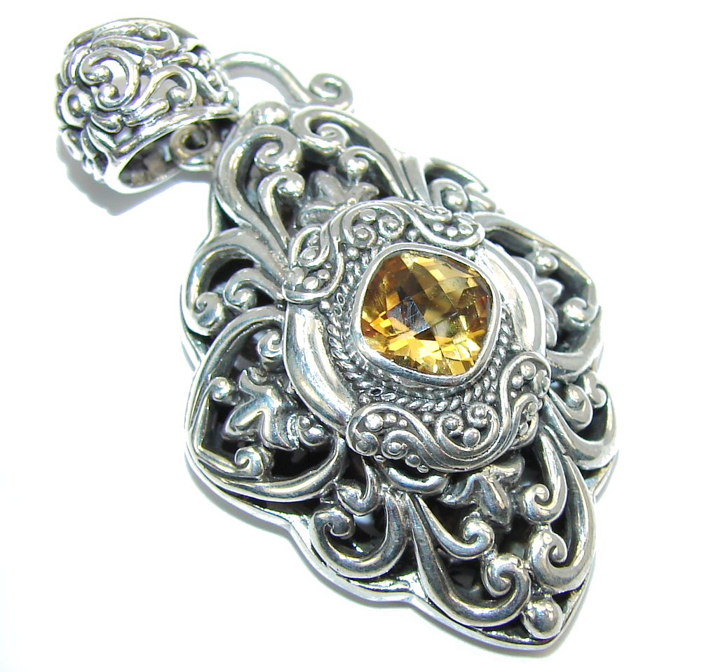 Perfect AAA Yellow Citrine Sterling Silver pendant