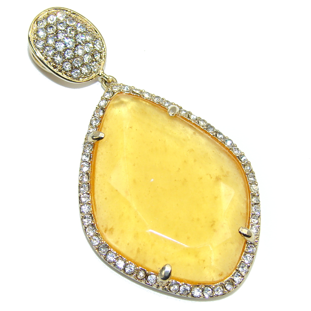Genuine AAA Golden Calcite, Gold Plated Sterling Silver Pendant