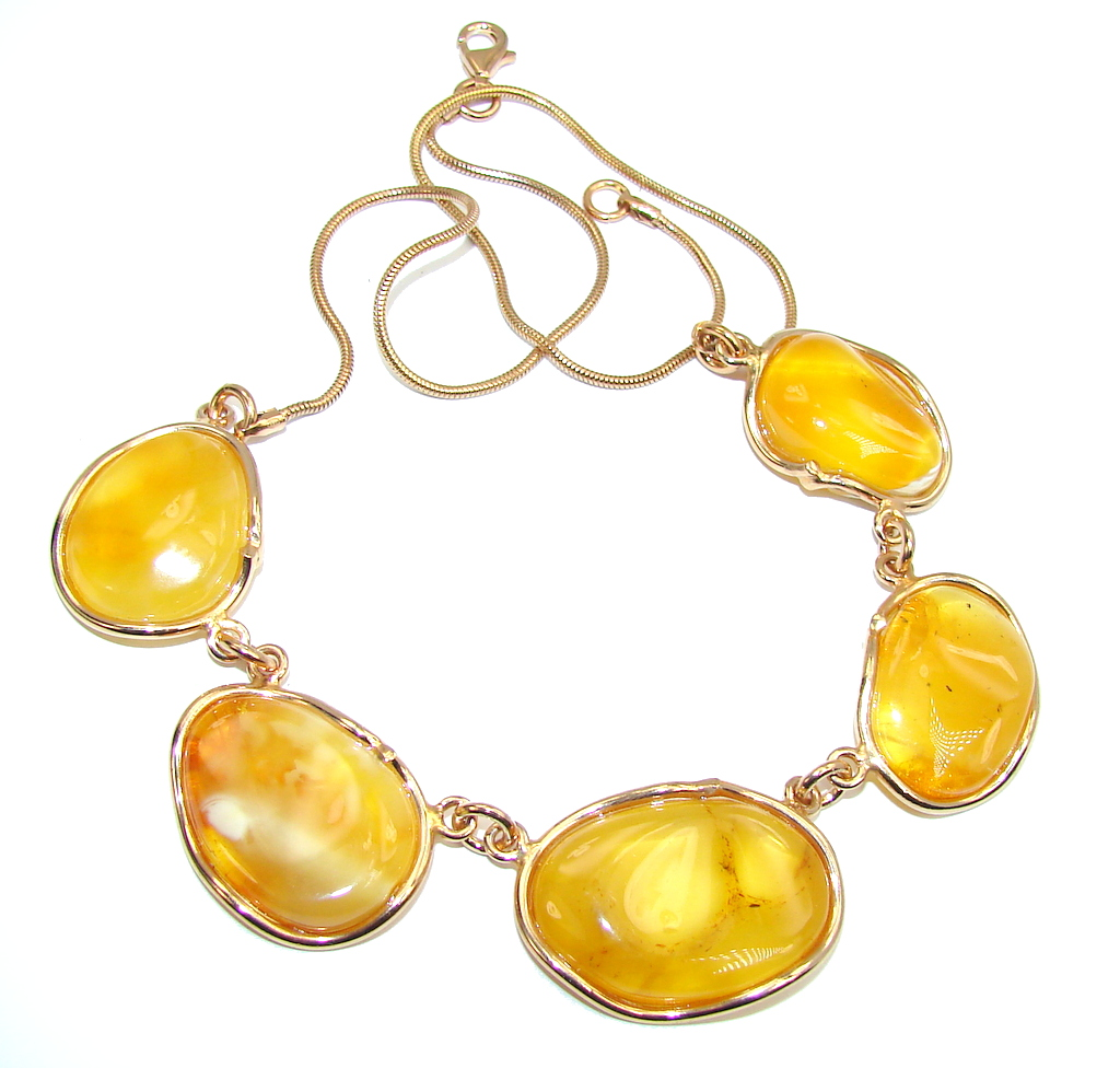 Very Elegant AAA Baltic Polish Amber, Rose Gold Plated Sterling Silver neckl..