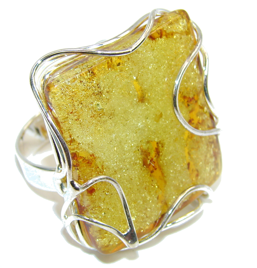 Big! Natural AAA Brown Polish Amber Sterling Silver Ring s. 9 - adjustable