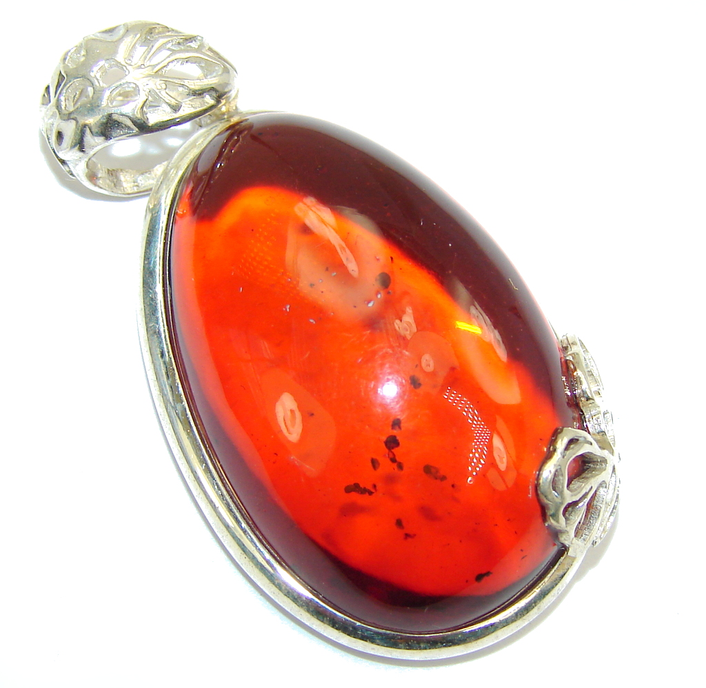Amazing AAA Baltic Polish Amber Sterling Silver Pendant