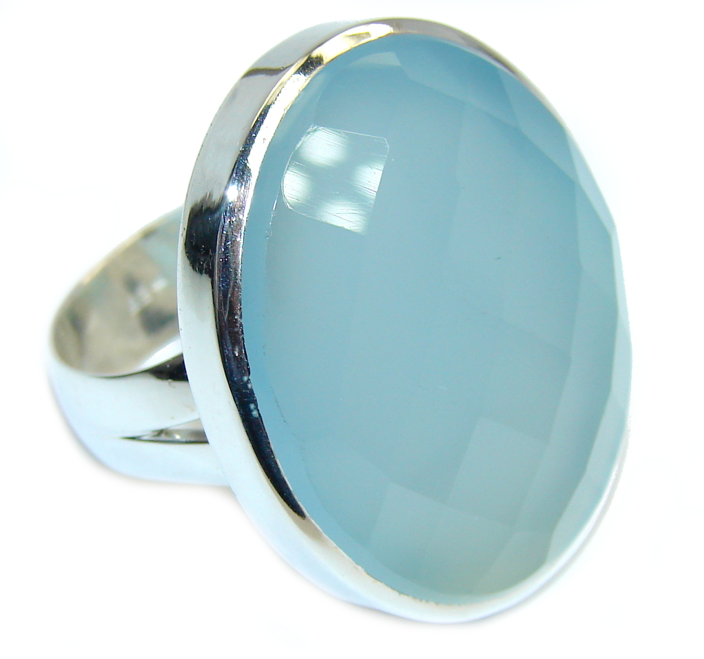 Created Light Blue Aquamarine Sterling Silver ring; 11