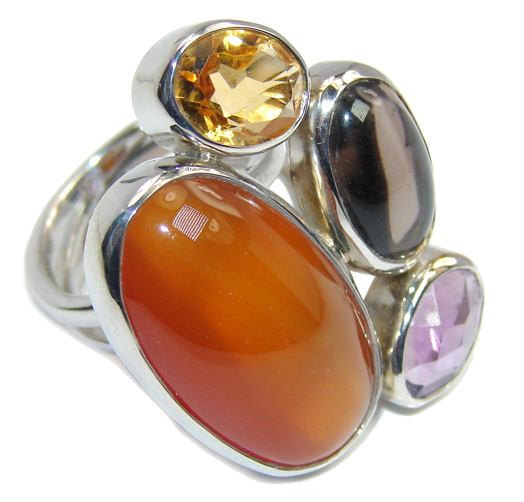 Big! Excellent Orange Carnelian Sterling Silver ring s. 6 - adjustable