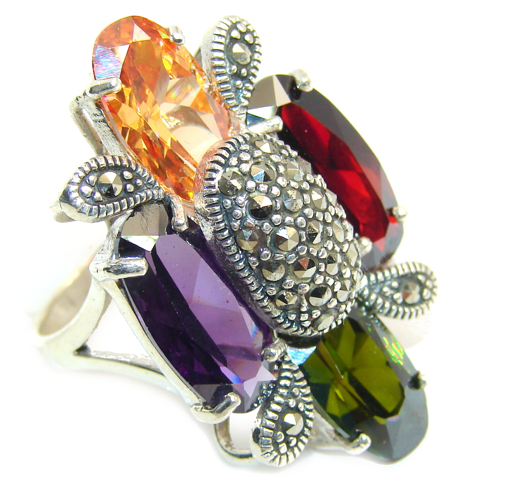 marcassite.com Big! Stunning Cubic Zirconia, Marcasite Sterling Silver Ring s. 8 1/4