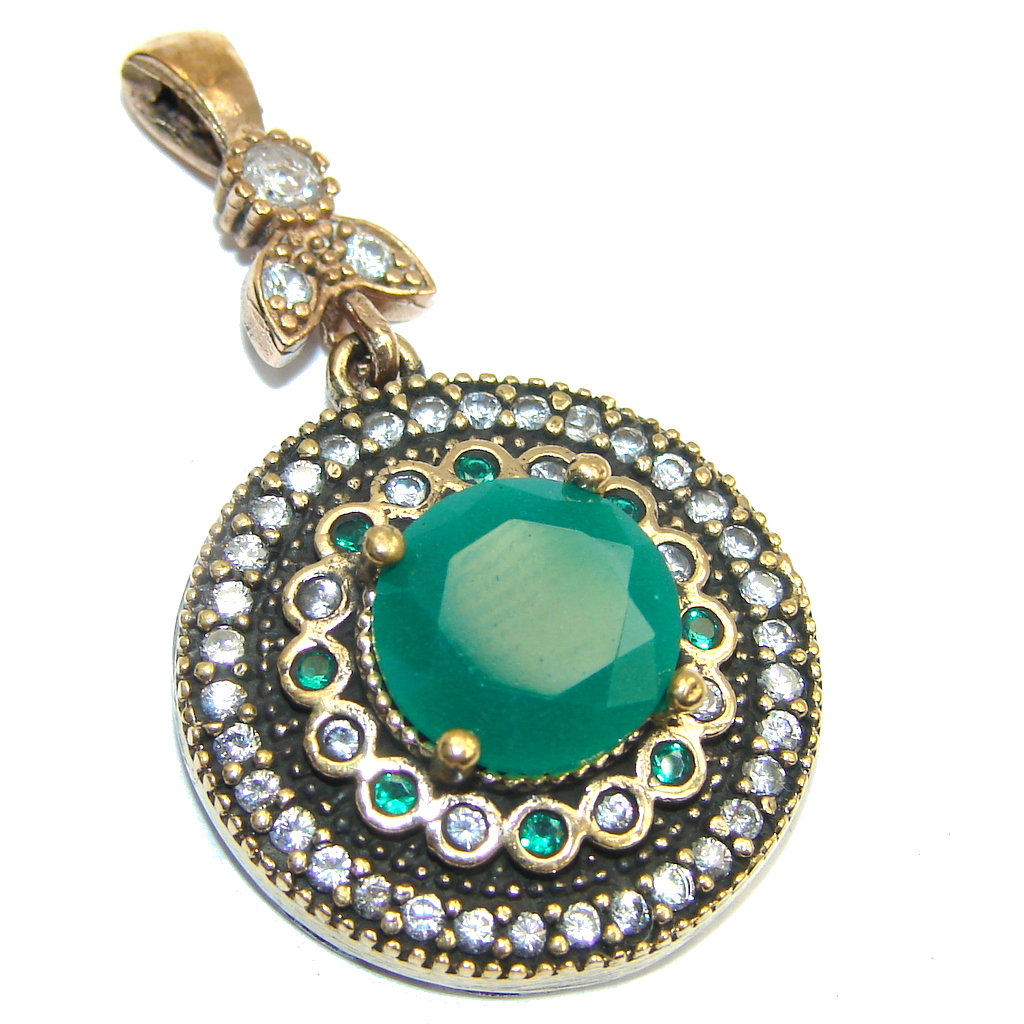 Victorian Style Emerald & White Topaz Sterling Silver Pendant