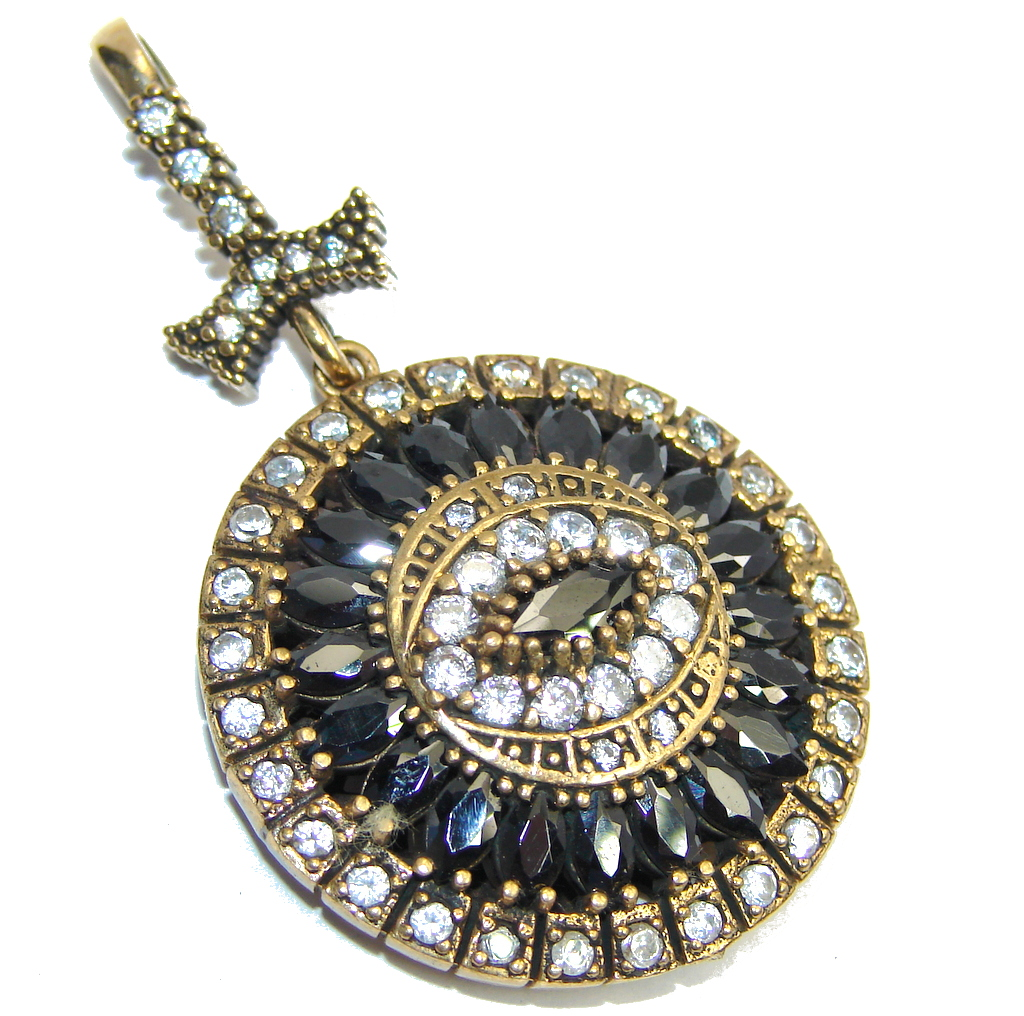 Victorian Style Created Black Sapphire, White Topaz Sterling Silver Pendant