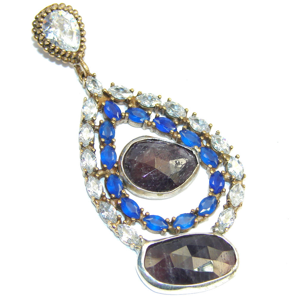 Victorian Style Untreated Ruby & Sapphire & White Topaz Sterling Silver Pendant