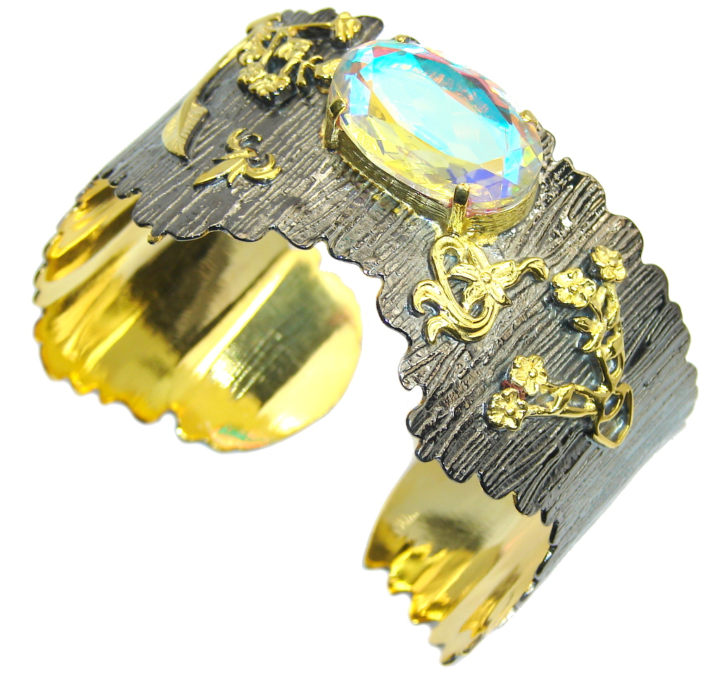 Beautiful Style Rainbow Quartz, Gold PLated, Rhodium Plated Sterling Silver Bracelet / Cuff