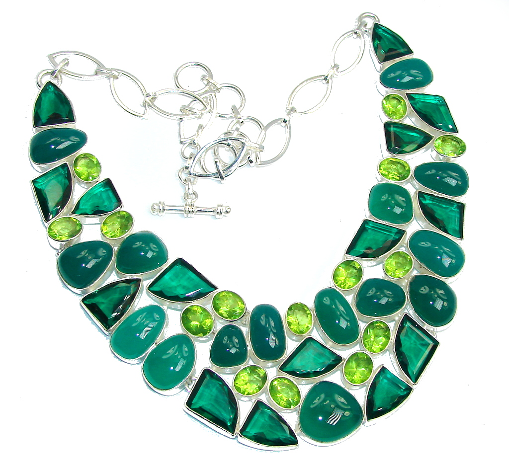Exotic Green Island Agate & Created Emerald Sterling Silver necklace
