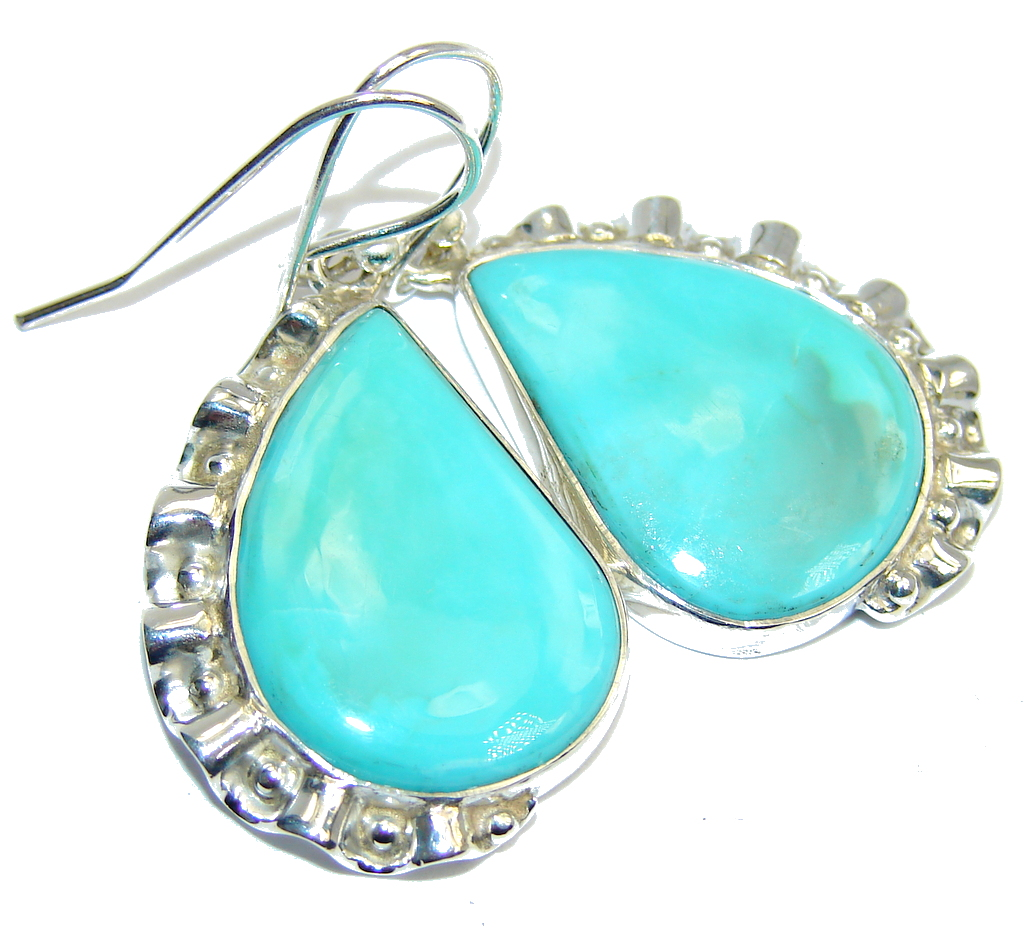 Delicate Green Turquoise Sterling Silver earrings