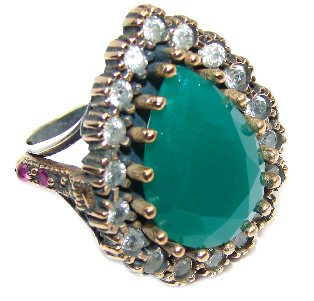 Victorian Style! Green Emerald & White Topaz Sterling Silver Ring s. 9 1/2