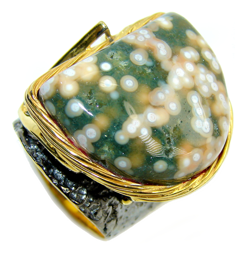 Big! AAA Green Ocean Jasper, Gold Plated, Rhodium Plated Sterling Silver Ring s. 8