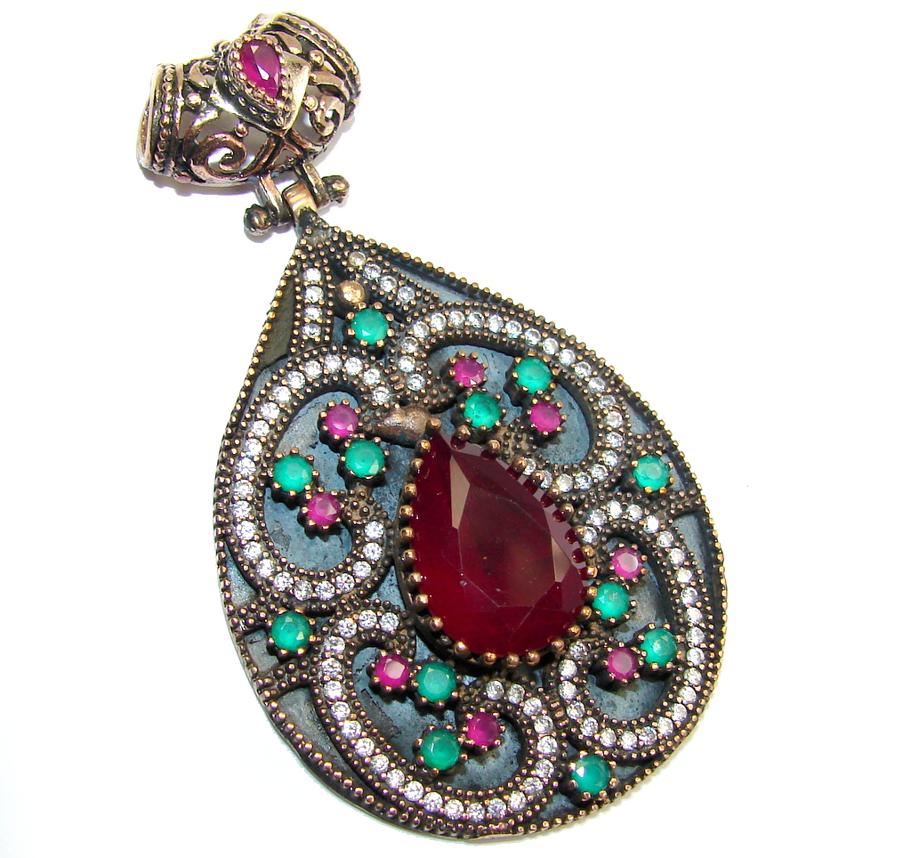 Big! Victorian Style! Pink Ruby & White Topaz Sterling Silver Pendant