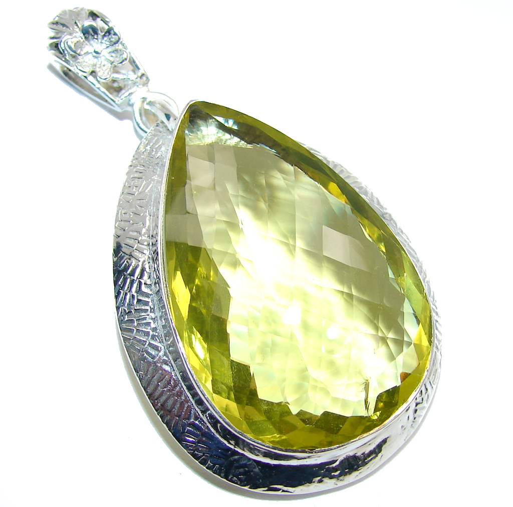 Big! Summer Created Yellow Citrine Sterling Silver pendant