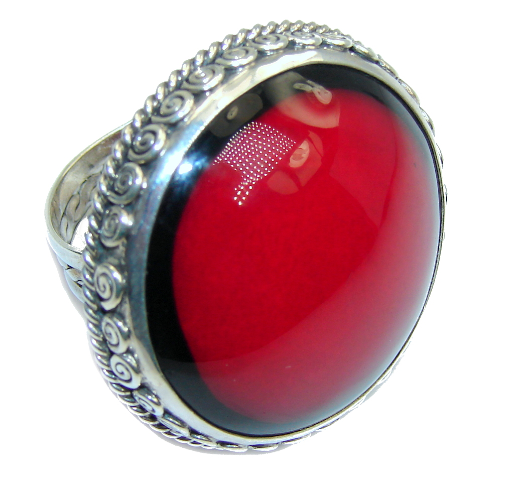 Big! Lovely Red Fossilized Coral Sterling Silver ring s. 9